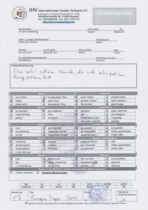 Joely2019 Europasieger`Bericht